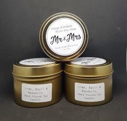 custom wedding candle travel tin