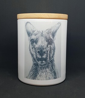 kangaroo sketch custom candle print
