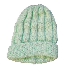 Mint Green Pure Wool Textured Beanie