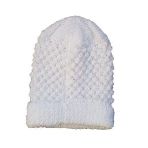White Pure Wool Baby Beanie