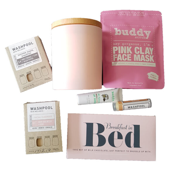 Breakfast In Bed Pink Hamper- Flatlay